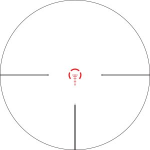The Vortex Strike Eagle reticle. The center illuminates for quick reflex shooting or low light conditions, and the tradition cross hair style assists shooters in longer shots.