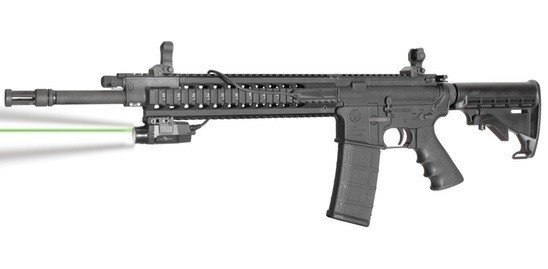 Here the Viridian X5L-RS is mounted to a Ruger 556. Note the pressure activated switch on the side rail.