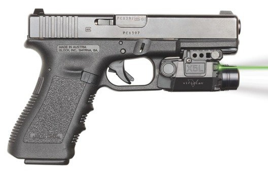A Glock with the Viridian X5L green laser/light combination mounted.