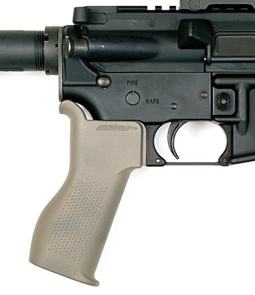 The newly designed, personally adjustable Accu-Grip mounted on an AR-15.