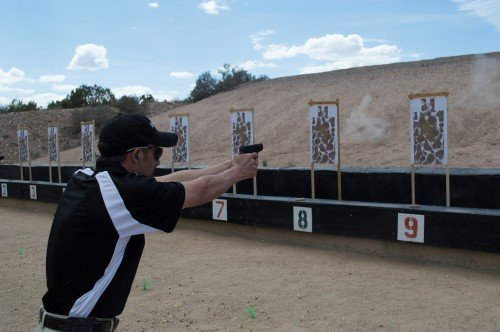 The recoil of the RM380 is very manageable as seen by this shooter just after firing.