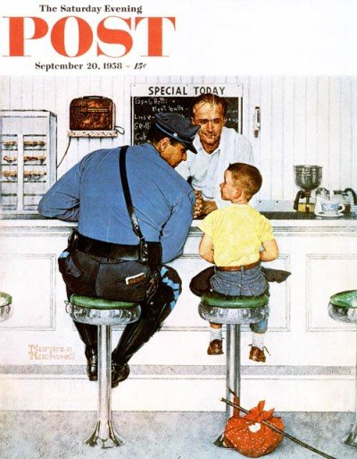 """""""The Runaway"""" by Norman Rockwell (photo from the Saturday Evening Post cover)."""