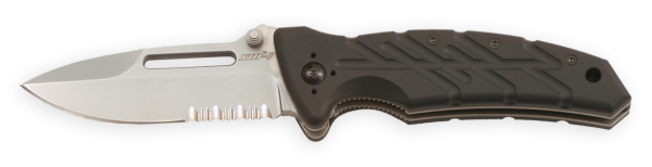 The Ontario Knife Company (OKC) XM-1S has both a razor and serrated blade.