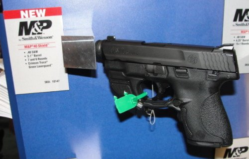 The S&W Shield with Crimson Trace Green Laser on display at SHOT.