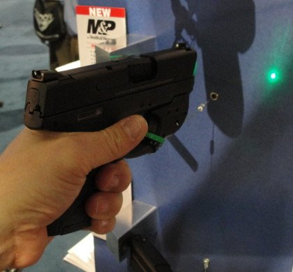 The Crimson Trace Green Laser provides a very bright aiming point.
