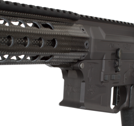 The carbon fiber hand guard reduces weight and heat, and has a key mod attachment system and full length top rail.