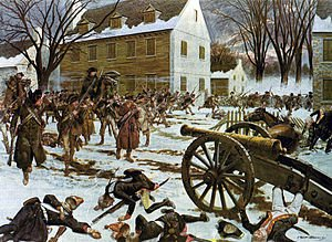 The victorious Americans at Trenton (painting by H. Charles McBarron, Jr. 1975)