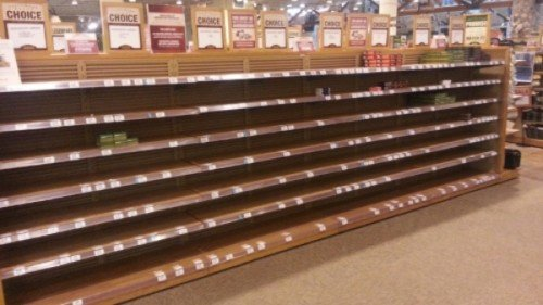 Empty ammo shelves during the height of the ammo shortage (Photo by Glockforum.com)