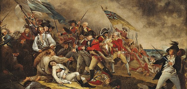The overwhelmed defenders on Bunker Hill surrender (photo by Smithsonian)