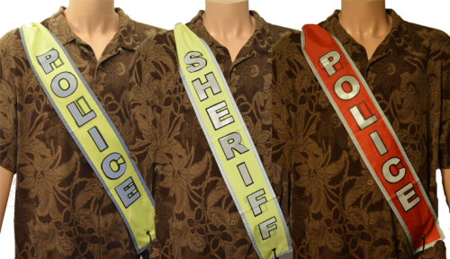 The DSM identification banners are lightweight, easily stored and carried, and quickly provide positive identification to uniformed officers who respond.