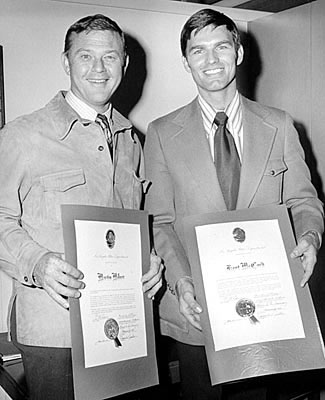 Milner and McCord receive commendations from LAPD. (photo from kentmccord.com)