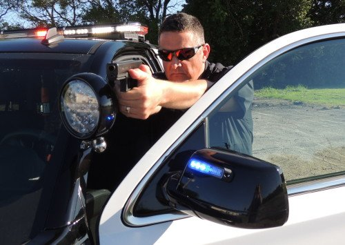 The Author during high-risk vehicle stop training with his issued Glock 22.