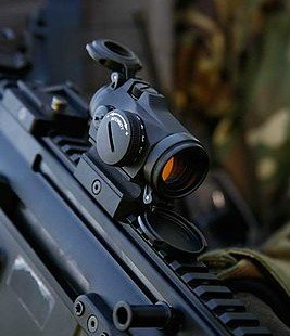 The Aimpoint T-2 red dot optic.