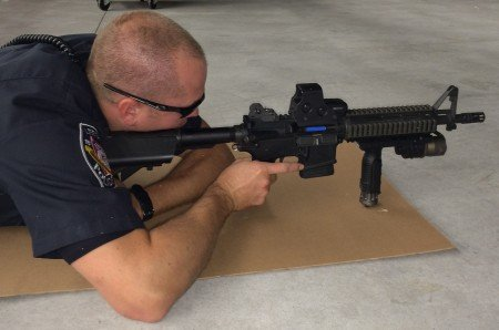 A tester with the author's Rock River Arms LAR-15.