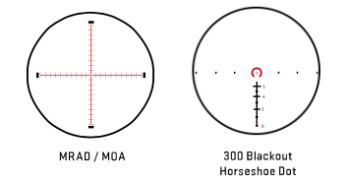 Two of the reticles options for the Tango 4.