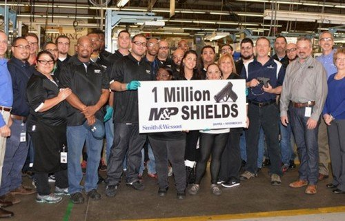A photo of the S&W workers celebrating 1 million Shield pistols manufactured (photo from 2015).