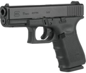 The mid-size Glock 19 is smaller and lighter than the P226, but still packs 15+1 capacity.