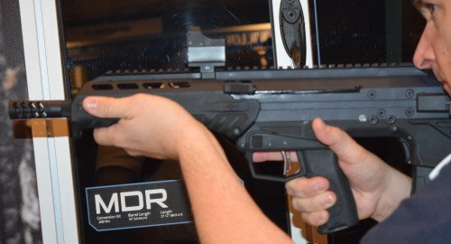 Notice the enlarged trigger, trigger guard, and charging handle on the MDR.