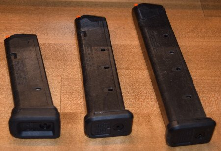 The (3) new GL9 options - 17, 21, and 27-round (L-R). Note the optional beefed up floor plate on the left magazine.