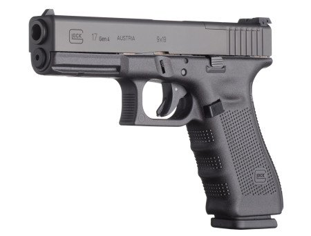 The Glock 17 Gen 4 MOS without mounted reflex sight. Note the cut-out on the slide in front of the rear sight.