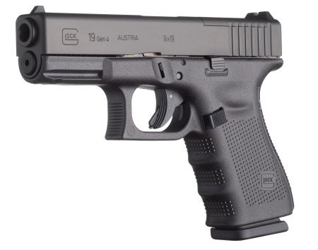 The Glock 19 Gen 4 MOS without reflex sight. Note cut-out on slide in front of rear sight.