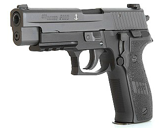 A SEAL Sig Sauer P226 Mk25, with anchor marker on the slide.