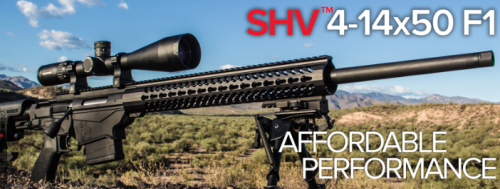The new Nightforce SHV 4-14x50 F1 rifle scope mounted on a Ruger Precision Rifle.