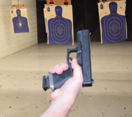 Here a 15-round ETS magazine seats just fine in the compact Glock 19.