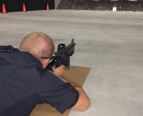 Here the shooter takes aim from prone at the 10-yard line.