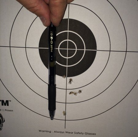 The first 5-shot group from 7-yards prone was also low.