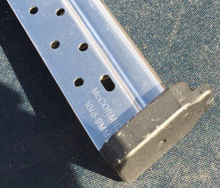 The Pincus I.C.E. claw magazine base plates increase tactile function during loading and stripping - here on McCormick XP 9mm steel magazines.