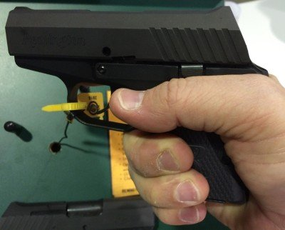 The RM380 is built for concealment. As such, don't expect a full grip - my pinky finger was completely off the pistol.