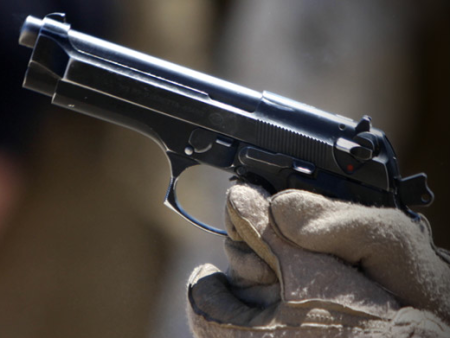 A U.S. Marine Beretta M9 pistol (photo by US Marines).