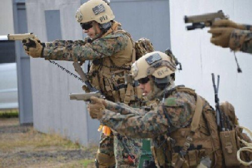 Here Marine Spec Ops forces train with the MARSOC 1911.