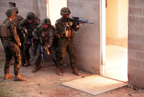 Flash Bangs are common distortionary devices used by SWAT teams, but are not an absolute solution (photo by U.S. Marines).