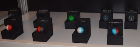 Multi-colored PepperBall projectiles combine options for multi-purpose.