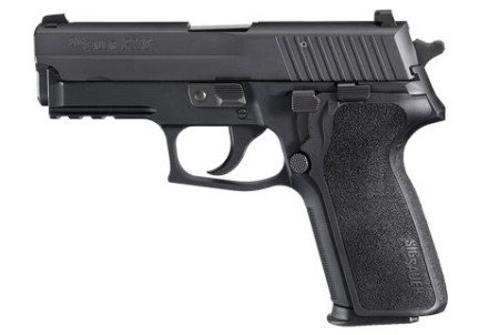 A .40 caliber Sig Sauer pistol was located, like this P229.