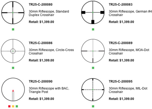 The reticle options for the Trijicon Accupoint 1-6x24mm rifle scope.