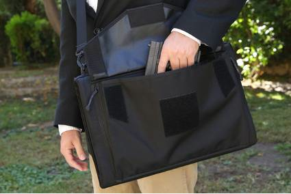 When folded, the Savior MTS is very compact (here showing the concealable pocket for firearms or other items).