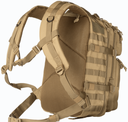 Reinforced shoulder straps have a chest connection and waist connection for extra support.