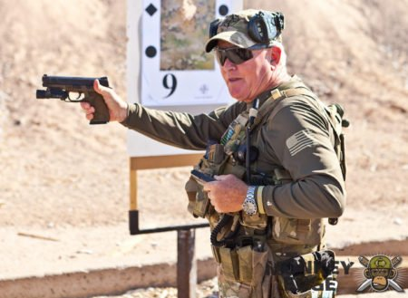 Pat Rogers was also a very accomplished pistol shooter and instructor (photo from Youtube.com).