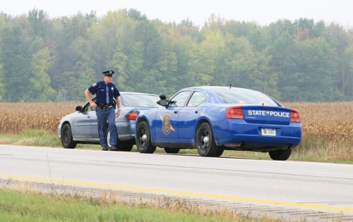 Returning to the patrol car can also be a threat (photo by Michigan State Police).