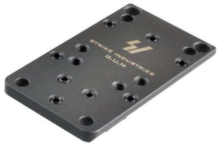 The Strike Industries G.U.M. plate has screw holes to match several optics.