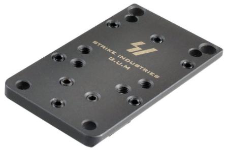 The Strike Industries G.U.M. plate has screw holes to match several optics.