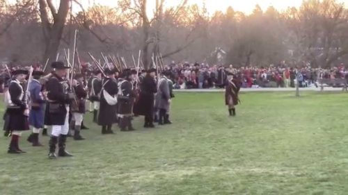 Re-enactors prepare for the Battle of Lexington photo from YouTube).