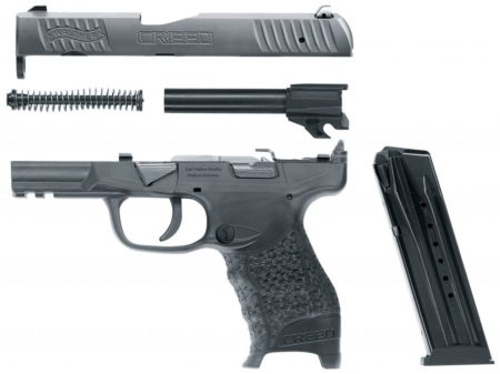The Walther Creed breaks down with the use of a takedown lever.