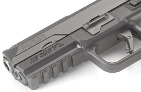 A better look at the RAP Glock-like trigger and Picatinny rail.
