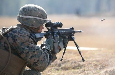 A Marine firing the M27 IAR HK 416) photo from YouTube).