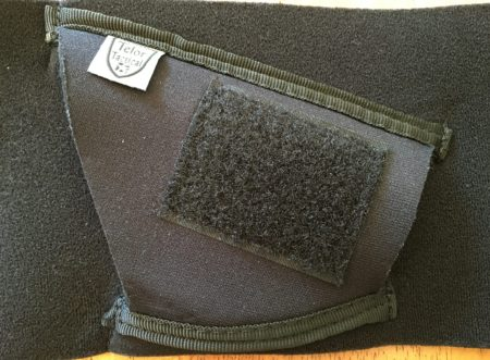 The Neoprene Tagalong holster has double stitched nylon edges, and a Velcro patch on top for the retention strap.