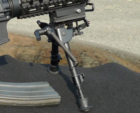The popular Harris bipod on an AR-15 (photo by Harris).